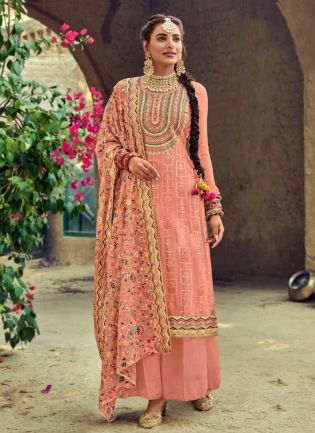 Adorable Peach Color Punjabi Suit With Embroidered Georgette Base