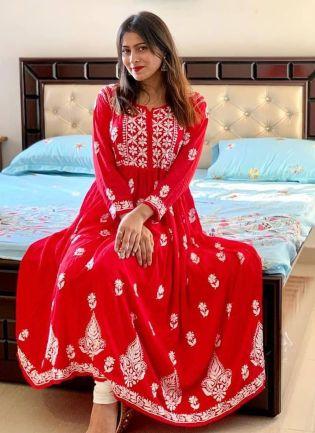 Red Resham Georgette Anarkali Casual Salwar Suit