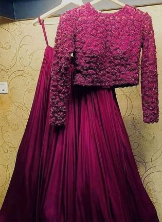 Miraculous Magenta Purple Taffeta Silk Flared Designer Lehenga Choli