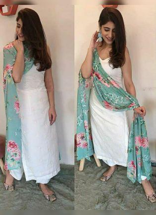 Modish White Festive Wear Cotton Base Trendy Palazzo Salwar Suit