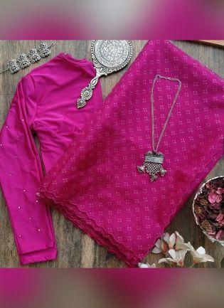 Fabulous Rani Pink Festive Wear Digital Printed Designer Organza Saree