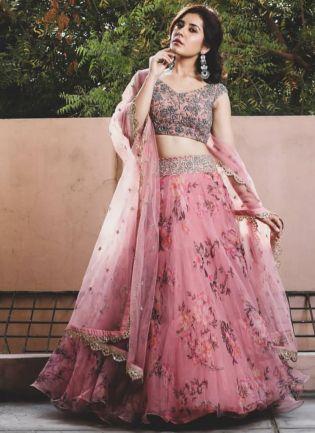 Designer Pink Color Wedding Wear Organza Printed Floral Lehenga Choli