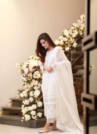 White Color Designer Party Wear Heavy Thread Work Salwar Kameez Suit