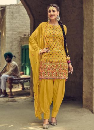 Pretty Yellow Color With Heavy Embroidery Work Salwar Kameez