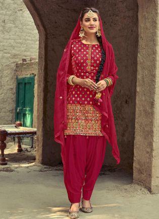 Charming Red Color With Dhoti Style Suit Salwar Kameez