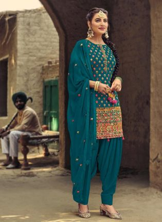 Lovely Turquoise Color With Dhoti Style Suit Salwar Kameez
