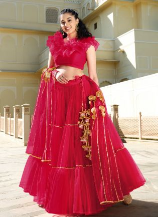 Sweet Red Color With Butterfly Net Base Lehenga Suit