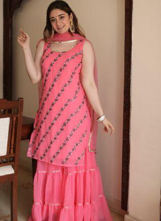 Spectacular Deep Pink Georgette Festive Wear Designer Sharara Suit
