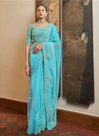 Beautiful Sky Blue Designer Organza Saree With Matching Blouse