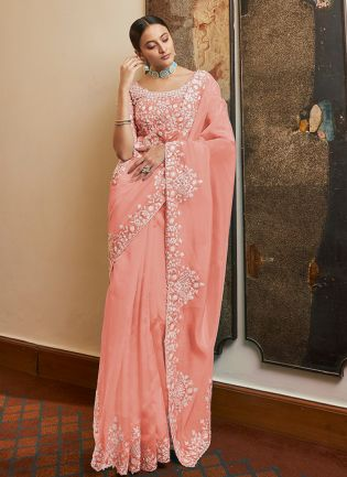 Beautiful Look Peach Designer Organza Saree With Matching Blouse