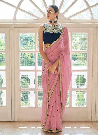 Magnificent Blush Pink Georgette Base Resham Embroidered Saree