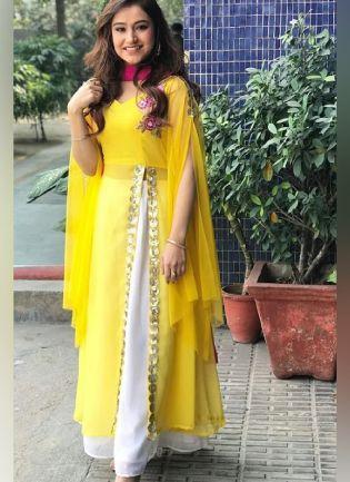 Tremendous Sunshine Yellow Color Georgette Base Ceremonial Wear Designer Slit Cut Palazzo Suit