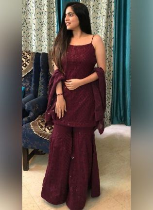 Glamorous Wine Color Georgette Base Sharara Suit