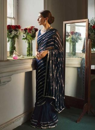 Attractive Blue Color With Sequence Work Saree