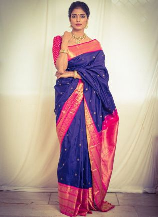 Traditional Look Blue Color Soft Silk Base Saree