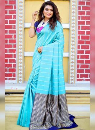 Elegant Sky Blue Color Silk Base Banarasi Saree