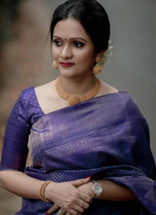Royal Blue Color Silk Base Weeding Wear Traditional Look Saree