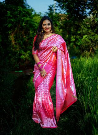 Classy Pink Color Soft Silk Base Wedding Wear Saree With Same Color Blouse