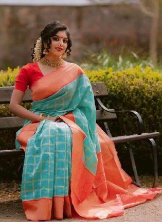Impressive Red And Blue Color Kanchipuram Silk Base Saree