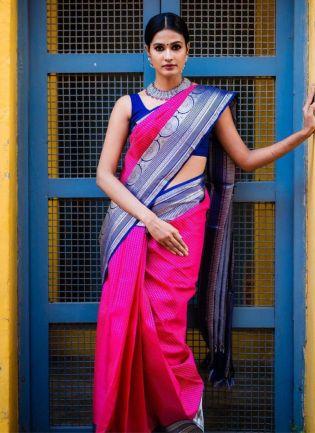 Glamorous Pink Color Silk Wave Saree