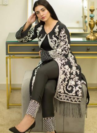 Black And White Color Heavy Georgette Base Pant Style Salwar Suit