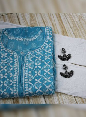 Decent Blue Color Lakhnavi Work Chikankari Frock Style Kurti