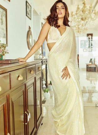 Cream Color Party Wear Georgette Base Designer Sequins Work Saree