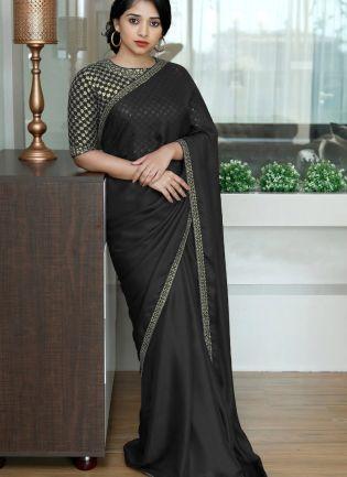 Black Sequin Dori Silk Embroidered Saree For Party