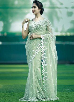 Fancy Green Color Soft Net Base Saree