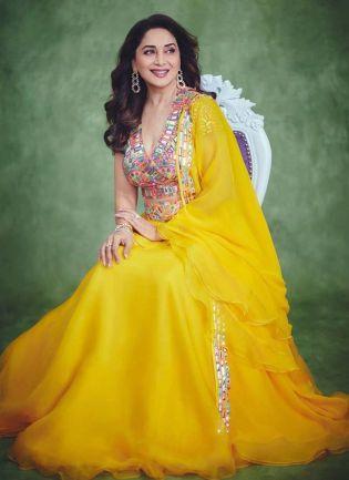 Sunshine Yellow Color Georgette Base Bollywood Look Flared Lehenga Choli
