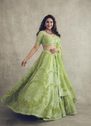 Bollywood Style Green Color Organza Silk Base Flared Lehenga Choli