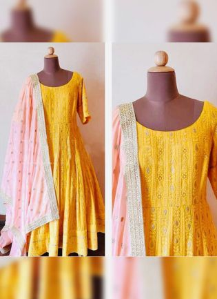 Dramatic Bright Yellow Colored Georgette Base Ethnic Anarkali Suit