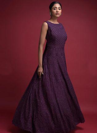 Stunning Grape Purple Embroidered Reception Wear Anarkali Suit