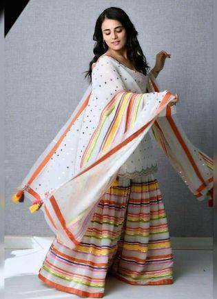 Charming White Cotton Silk Festive Wear Digital Printed Sharara Suit