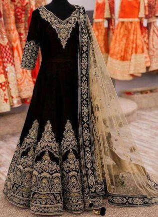 Gorgeous Black Velvet Base Embroidered Anarkali Style Suit