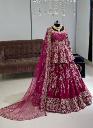 Mesmerizing Pink Color Georgette Base With Embroidery Hand Work Long Choli Lehenga