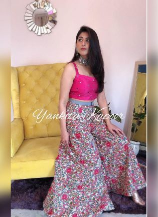 Eye-Captivating Pink Color Georgette Base Party Wear Designer Crop Top With Palazzo Suit