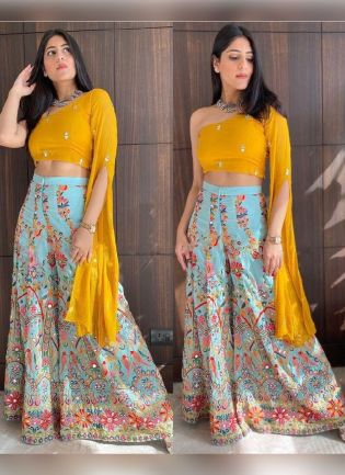 Sunshine Yellow Color Georgette Base Party Wear Crop With Blue Palazzo