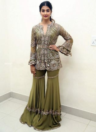 Green Color Georgette Base Embroidery With Sequins Work party Wear Sharara Suit
