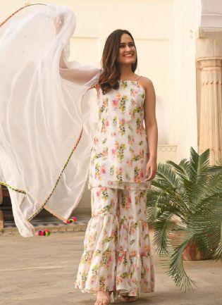 Summery White Color Georgette Base Digital Print Designer Sharara Suit