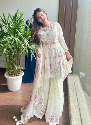 White Color Georgette Base With Heavy Work Party Wear Sharara Suit