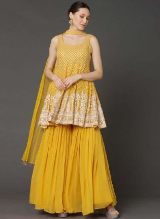 Admirable Sunshine Yellow Color Georgette Base Ceremonial Wear Sharara Suit
