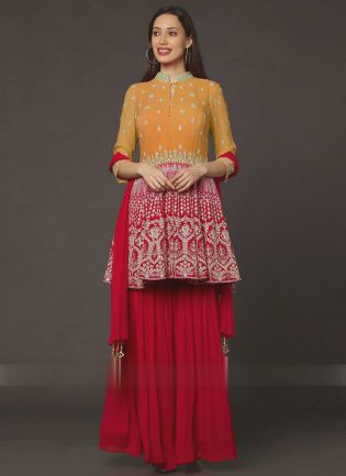 Exemplary Yellow And Red Color Georgette Base Sharara Suit