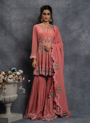Attractive Peach Color Georgette Base Sharara Suit
