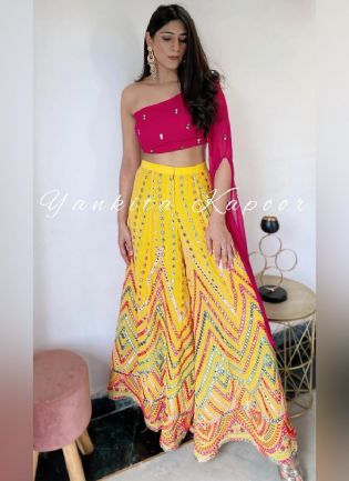 Fashionable Yellow and Pink Western Crop Top Party Wear