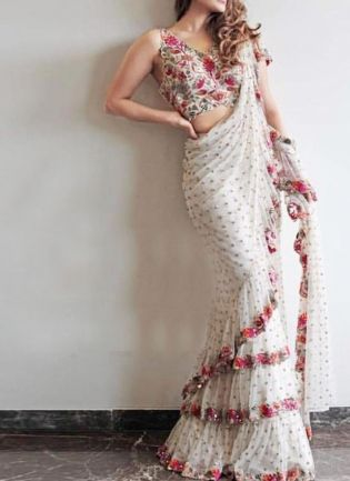 White Color Georgette Base Designer Embroidery Sequins Work Ruffle Saree