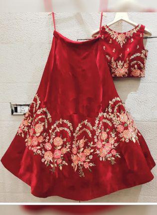 Red Color Wedding Wear Velvet Base Designer Lehenga Choli