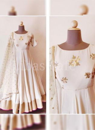 Off White Color Party Wear Designer Georgette Base Heavy Embroidered Gown