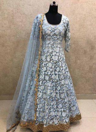 Elegant Grey Color Georgette Base Thread Work Salwar Kameez Suit
