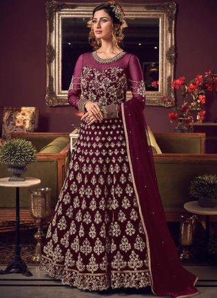 Mesmerizing Purple Soft Net Base Stone And Dori Work Salwar Suit